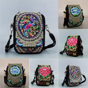 Vintage Women Shoulder Bag Mini Embroidered Travel Pouch Chinese National Floral Crossbody Zip Tote Messenger Storage Bags
