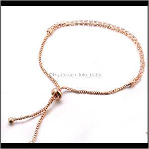 Fashion Jewelry Womens Crystal Rhinstone Beaded Thin Bracelet Lady Push Pull Bracelets S331 Fxw2Y Bangle Lesuc
