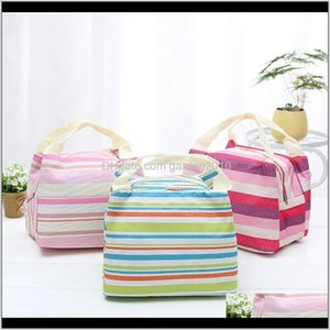 Zipper Tote Thermal Insulated Portable Picnic Lunch Bag Canvas Striped Bento Bags Wb2073 Ic78S Kgevl