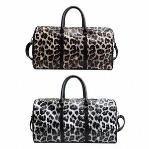 Hombro de mujer Sling Hombro Crossbody Bolsa Grande Capacidad Bolsos de viaje de leopardo PU Cuero Fin de semana Femenino Bolsas de lona Bolsas para mujer Viajes 77lb #