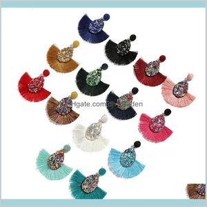 Chandelier Delivery 2021 14 Colors Bohemian Statement Tassel Vintage Ethnic Drop Dangle Fringe Fashion Druzy Earrings Womens Jewelry Gifts Wp