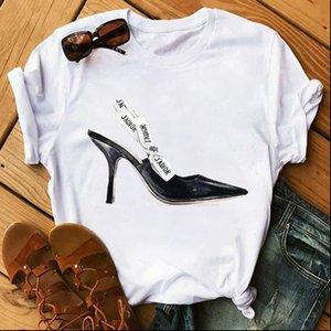 Women T Shirts Watercolor High Heels Shoes Print Femme Funny Shirt 90s Hip Hop Punk Girl Personality Tops