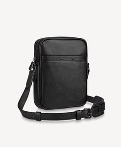 Danube Slim Messenger Bag Black Embossed Leather Men Casual Outdoor Sports Crossbody Small Mobile Phone bags M44972