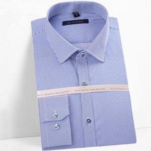 Весенние мужчины тонкие полосатые тонкие фигурные платья рубашка мужской не гладильный с длинным рукавом рубашки повседневные гольф хлопчатобумажная каммаса в кискулина мужская