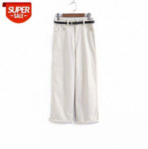 110036 Frauen breite Beinjeans, gerade, lose, hohe Taille, dünn, daddy Moppinghose mit Gürtel # AI1D