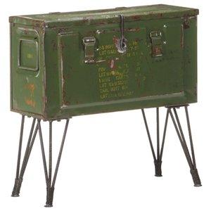Storage Trunk Military Style 68x24x66 cm Iron