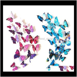 Stickers Décor & Garden Drop Delivery 2021 12Pcs 3D Wall Pvc Simulation Stereoscopic Butterfly Mural Sticker Fridge Magnet Art Decal Kid Room