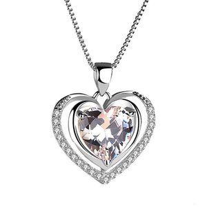 Necklaces 925 pure silver love white diamond pendant eternal heart necklace fashion clavicle jewelry accessories women