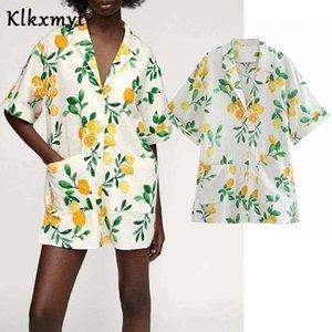 Klkxmyt Za Summer Dress Women Fashion With Pocket Print Shirt Mini Casual Short Sleeves Female Party es Vestido 210527