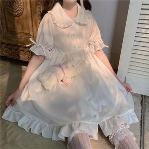 Dresses Japanese Sweet Girl Lolita Kawaii Peter Pan Kraag Leuke Ruche Bladerdeeg Mouw Effen Color Elegant Retro Dame Drees