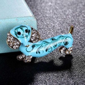 Pins, Brooches Zlxgirl Perfect Men's Blue Enamel Dog Animal Jewelry Fashion Gold Color Scarf Pins Nice Women's Hats Accessory