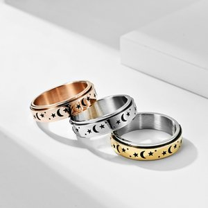 Engraved Rotable Stainless Steal Star and Moon Ring Spinner Band Rings Finger for Women Men Love Rose Gold Relieving Anxiety Jewelry 4532 Q2