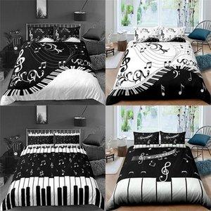 Conjuntos de ropa de cama Conjunto 3D 2 / 3pcs Música Nota de música Piano Teclas de Piano Impreso Cubierta de edredón suave Edredón Funda de almohada Decoración para el hogar Reina y King Tamaño