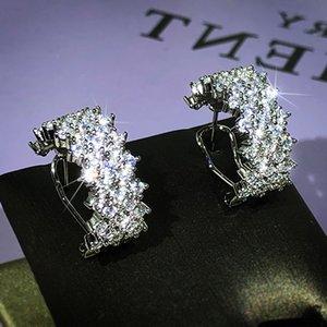 Choucong 독특한 귀 팔목 스파클링 럭셔리 쥬얼리 925 스털링 실버 포장 화이트 사파이어 다이아몬드 올리브 가지 귀걸이 결혼식 클립 1024 B3