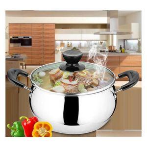Stock Quality Stainless Steel Soup Stick Cookware Set Pans Pots Saucepan Cooking Casserole Non Magnetic Pot Brew Kettle Dmhgw Pkfse