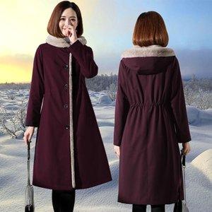 Women's Fur & Faux High Quality Imitation Coat Women Winter Long Thick Warm Buttons Mink Liner Hoody Parka W76