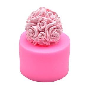 CHUANGGE Handmade Candles DIY Silicone Mold 3D Rose Ball Aromatherapy Wax Gypsum Mould Form Candles Making Supplies 1352 V2