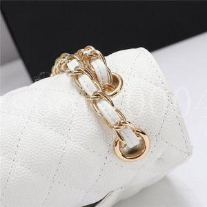 Buena calidad Mujeres Diseñador de lujo Bolsa de hombro Marca Monedero Mini clásico Cuero genuino Crossbody Bolso Caviar Textura Cadena Bolsas de colgajo