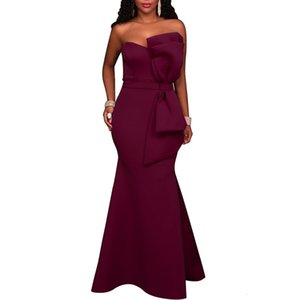 Party Dresses 2019 hot fashion big bow solid color women's dress wrapped chest sexy evening dress
