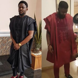 African agbada men clothes dashiki robe shirt pant suit with rhinestones men's formal attire DFF0422
