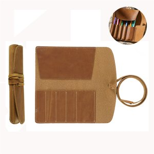 Genuine Leather Pencil Case Roll Retro Pen Bag Storage Holder Organizer Business School Stationery Supplies 1XBJK2104