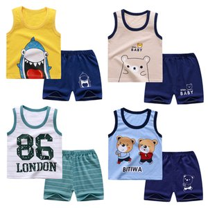 Boys and Girls Clothing Vest Sets Summer Home Sleeveless Cotton Baby Shorts Cute Short Sleeve T-shirt