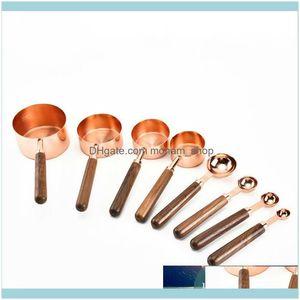Kitchen, Home & Gardenhousehold Kitchen Dining Bar Baking Walnut Wooden Handle Copper Plating Measuring Cups Spoon Cake Sugar Tools Set Drop