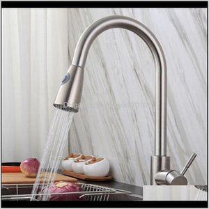 Faucets, Showers Accs & Garden Drop Delivery 2021 Kitchen Faucet Stainless Steel Single Handle 360° Swivel Sink Mixer Tap With Pull Down Spra