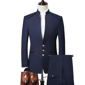 Three-piece Suit (blazer Pants + Vest) Stand Collar Tunic Dress Business Designer Brand High-end Slim Suits Men