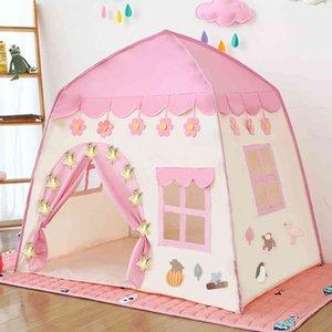 Çocuklar oyun çadır çocuk kapalı açık prenses kale katlanır cubby oyuncaklar enfant oda evi plaj çadır teepee playhouse 210402