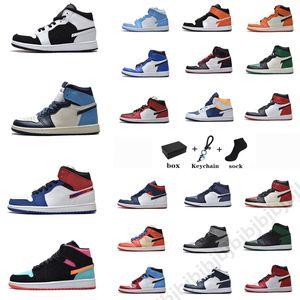 Haute Qualité Jumpman 1 Hommes Chaussures de basketball 1S OG Hyper Royal University Blue Unc Dark Moka Obsidian Twist Chicago Sports High-top Femme Sneakers