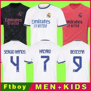 Реальные майкиды Мадрид 21 22 Футбольная футболка Футбол Футбол Алаба Хазард Серхио Рамос Бензема Модрик Asensio CamiSeta Men + Kids Kit 2021 2022 Униформа четвертый