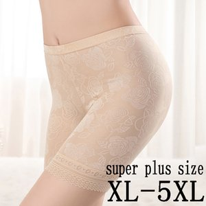 plus safety women shorts size summer breathable safety shorts sexy lace panties heavy waist fashion Women's safety underwear 5XL T200216