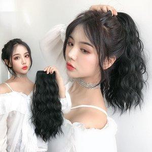 Female Wig Bandage Big Wave Net Red Short Curly Hair High Grab Corn Ponytail Braid