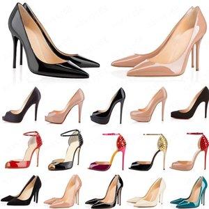 2020 Kırmızı Alt Moda Yüksek Topuklu Kadınlar Için Parti Düğün Üçlü Siyah Çıplak Sarı Pembe Glitter Spike Sivri Toes Pompaları Elbise Ayakkabı