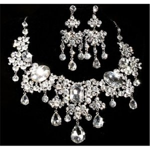 Fashion Prom Jewelry SET Clear Rhinestone Crystal Earrings Necklace Bridal Wedding Party Gift
