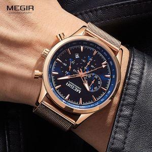 Luxury Rose Gold Blue Watches Men Stainless Steel Mesh Strap Quartz Watch Man Waterproof Chronograph Sport Wristwatch Wristwatches