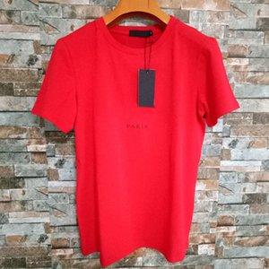 Мужская буква Печать футболки Черный модный дизайнер Летние Высокое Качество Верх Коротким Рукавом Размер S-XXL