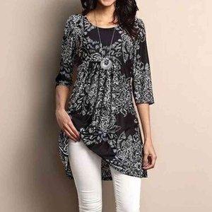 printer Women's T-shirt Three Bohemian Paisley Flower quarters Mouw Women's Overshirt O-neck Muti Colors Loss Plus Size Women's Tops