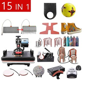 Free 12X15 Inch Combo 15 In 1 SublimationT Shirt Heat Press Machine For Printing T shirt Phone Case Cap Puzzle Mouse Pad Keychain DJCK