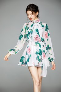 Fashionable women temperament two-piece dress with small fragrance ladies stand-up collar lantern long-sleeved printed chiffon skirt