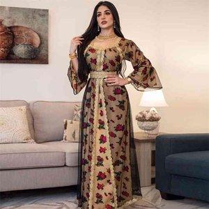Siskakia Gold Lace Embroidery Jalabiya Mesh Muslim Abaya Dress Eid Mubarak Dubai Turkish Arabic Moroccan Kaftan Islamic Clothing 210409