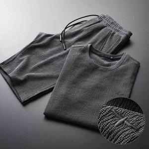 tracksuit shirt Summer Men Plus Size 3XL 4XL Luxury Sport Sleeve Man Sets(T-SHIRTS+PANTS) Wrinkle Slim Mens Sets With Short