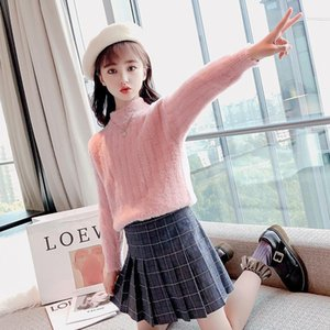 Pullover Winter Knitted Sweater Kids 2021 Teenage Soft Mink Velvet Clothes Autumn Girls Solid Color Thicken Knitwear 12Y