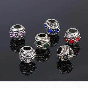 Loose Beads Natural Stone Gemstone Silver Spacer Bead Pandora Style Charms Beads 925 Sterling Silver Plating Openwork For Jewelry Bracelets