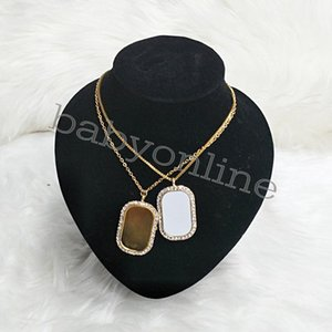 50pcs lot Sublimation Alloy Necklace Printable Pendant With Chain For Birthday Valentines Day Party Gifts