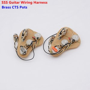 1 Set Pickup SSS Single s Loaded Pre-wired Electric Guitar Wiring Harness Prewired Kit (3x 250K Brass CTS Pots + 5-Way Switch )