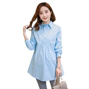 Maternity Tops & Tees OkayMom Blouse Shirts Clothing Korean OL White Loose For Pregnant Women Pregnancy Wear Dress Clothes