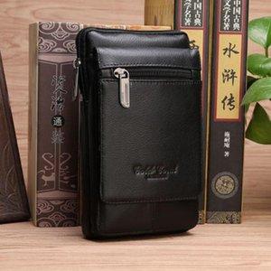 Waist Bags Genuine Leather Small Cross Body Shoulder Purse Hip Bum Cell Phone Case Bag Men Natural Skin Hook Belt Fanny Pack