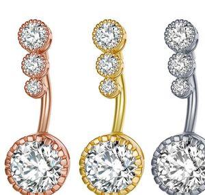 Copper Zircon Belly Button Rings Rhinestone Crystal Men Women Navel Ring Body Piercing Jewelry Fashion Accessories 3 5yl J2B
